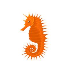 Flat icon of bright orange seahorse small vector