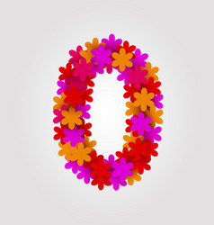 Floral numbers colorful flowers number 0 vector
