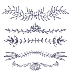 floral ornament dividers hand drawn decoration vector image