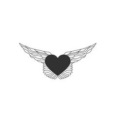 flying heart with wings line with editable vector image