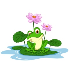 funny Green frog cartoon sitting on a leaf vector image