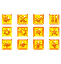 golden square collection set glass buttons vector image
