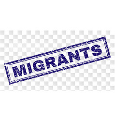 Grunge migrants rectangle stamp vector