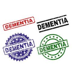 Grunge textured dementia stamp seals vector