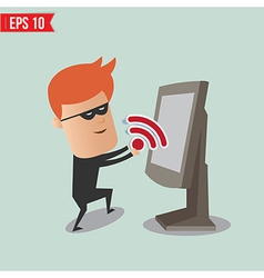 Hacker sniff wireless network for computer vector