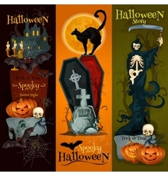 Halloween spooky party decoration banners vector