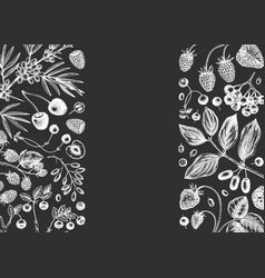 Hand drawn berries greeting card or invitation in vector