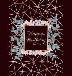 Happy birthday greeting card with eucalyptus vector