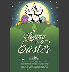 happy easter rabbits and easter painted eggs vector image