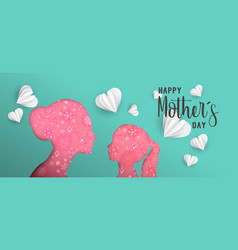 happy mothers day paper cut mom and kid web banner vector image