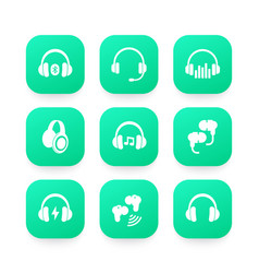 Headphones wireless earbuds headsets icons vector