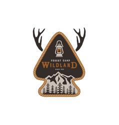 hiking club badge scout adventure camp emblem vector image