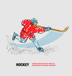 hockey player shoots puck with a stick vector image