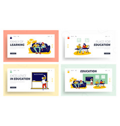 Home studying and schooling for kids website vector
