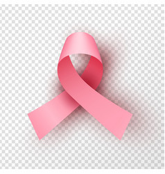 Isolated 3d pink ribbon for breast cancer concept vector