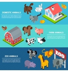 Isometric Animals Banners vector image