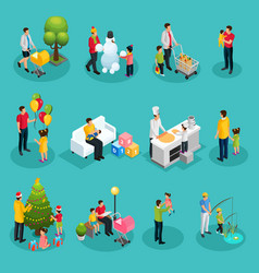 Isometric fatherhood elements set vector