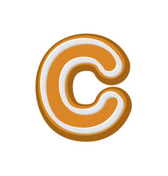 Letter c gingerbread peppermint honey-cake font vector