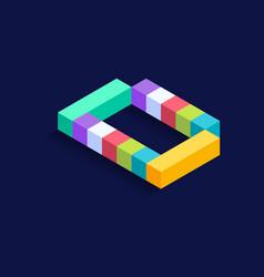 Letter d isometric colorful cubes 3d design vector