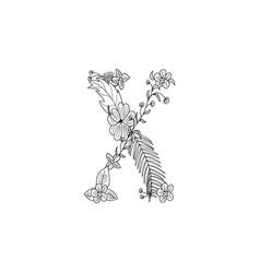 letter x floral ornament vector image