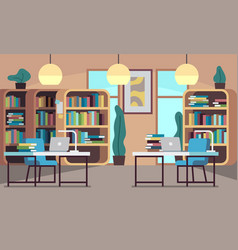 Library public reading room with bookcase vector