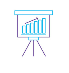 Line strategy presentation with statistics bar and vector