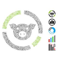 Linear pig diagram icon mosaic vector