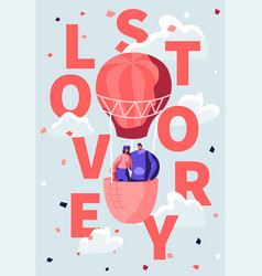 loving happy couple fly in air balloon cloudy sky vector image