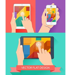 Male hands holding smartphone and tablet flat vector image