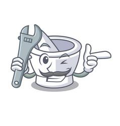 Mechanic mortar mascot cartoon style vector