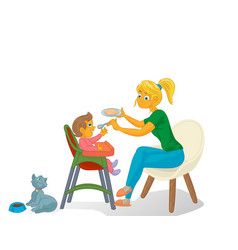 mother with kid and cat vector image