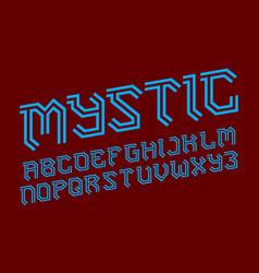 mystic alphabet gaming stylized font isolated vector image