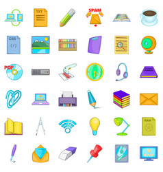 Place of work icons set cartoon style vector