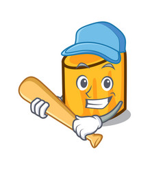 playing baseball rigatoni character cartoon style vector image
