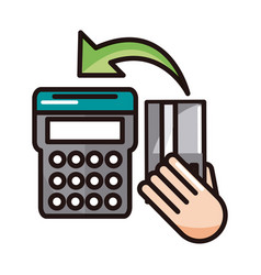 Pos terminal bank card shopping or payment mobile vector
