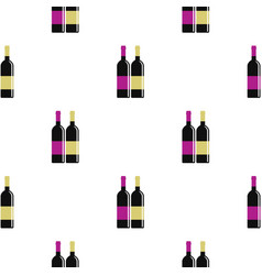 Red and white wine bottles pattern flat vector