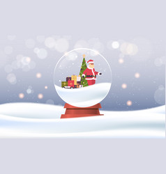 santa claus pulling trolley cart with gift boxes vector image