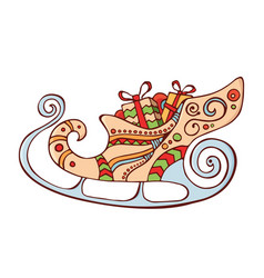 santas sleigh with gift boxes vector image