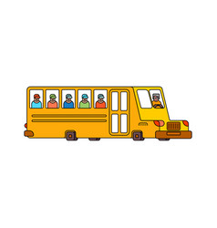 School bus contour style isolated yellow bus for vector