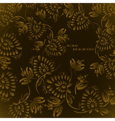 Seamless floral background pattern with gold vector