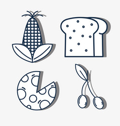 set corn with slice bread and pizza with cherry vector image
