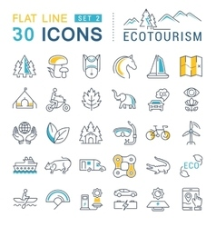 Set Flat Line Icons Ecotourism vector