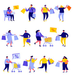 set flat people shopping bags and carts vector image