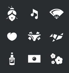 set of japanese geisha icons vector image