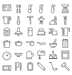 Set of web icons line food cooking vector
