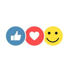 set social icons like heart smiley thumb up icon vector image