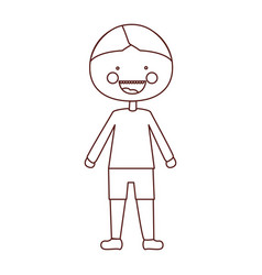 Sketch contour smile expression cartoon boy with t vector