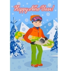 Smiling snowboarder man in winter ski sportswear vector