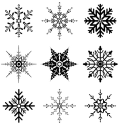 Snowflake designs for Christmas vector image