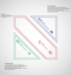 Square divided to three color parts infographic on vector